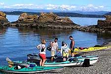 Beaching the kayaks for lunch on the west side of San Juan Island.