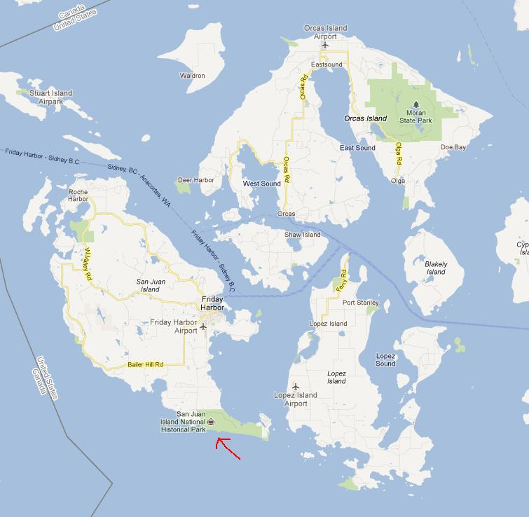 Location of American Camp on San Juan Island