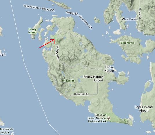 Location map of Mt. Young, San Juan Island