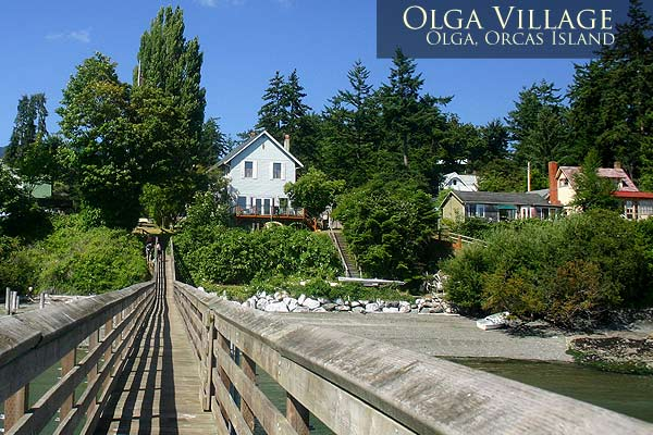 Looking back at Olga Village from the public dock. Orcas Island