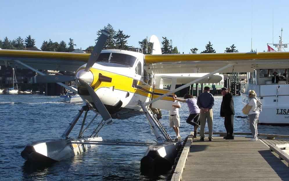 Visitors boarding a seaplane at the Port of Friday Harbor