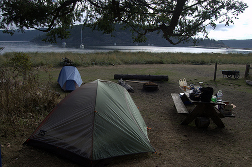 Camping near the water on Spencer spit State Park, Lopez Island