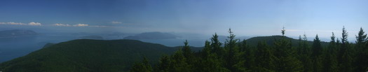 A panoramic image taken from atop mt Constitution on Orcas Island.